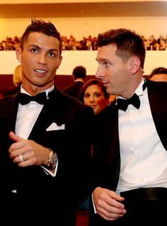 madridistaforever:  FIFA Ballon d'Or nominee Cristiano Ronaldo of Portugal and Real Madrid sits with FIFA Ballon d'Or nominee Lionel Messi of Argentina and Barcelona during the FIFA Ballon d'Or Gala 2015 at the Kongresshaus on January 11, 2016 in Zurich, Switzerland.
