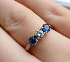 18ct white gold diamond and sapphire trilogy