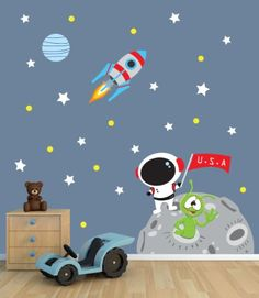 Moon Wall Decal with Astronaut for Baby Nursery or Boy's Room