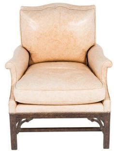 I like the style of this French leather chair. Salmon-pink color, distressed. Looks sturdy but not masculine. $645 #leather #chair #distressed #afflink