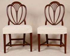 Pair Of Antique 19th Century Hepplewhite Period Carved Mahogany Side Chairs photo