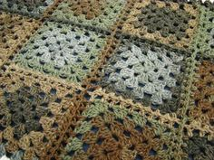 Country Cottage Granny Afghan - I pinned this as I think the colour combo in it is rather interesting.... shades of army camoflage ? !!