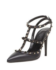 X27TN Valentino Noir Rockstud Leather Slingback, Black