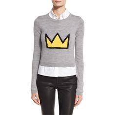 Alice + Olivia Nikia Crown Cropped Pullover & Shirt Combo (5.287.075 IDR) ❤ liked on Polyvore featuring tops, multi, women's apparel tops, crew neck shirt, long sleeve tops, long sleeve shirts, cable pullover and cropped long sleeve shirt