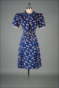 Vintage 1940s Dress Red Blue Floral Jacket by millstreetvintage
