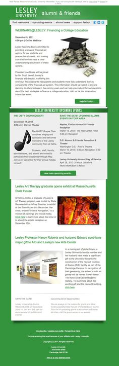Lesley University: Alumni Email Newsletter