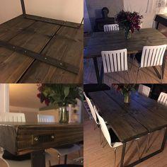 endnu et bord hos en glad kunde🙏🏻🌳😊 #norrefurniture #norre #kærlighedtiltræ #træ #woodworking #wood #wooden #sortbejdset #matlak #90x140cm #plankebord #plankebordeårhus #takforfoto #steel #rå #råt #stålben #stål #stålbukke #bordbukke