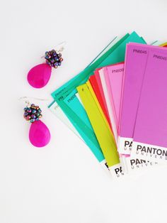 Pantone Cards + Kluster Earrings