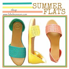 Saturdays call for travel in these summer flats!! #sunnyday Shop the 'Band Shape Summer Flats' in blue, yellow & pink now at www.labelmansion.com #labelmansion #shoes #flats #summer #saturdays #travel #fun #bright #sunny #day #shoponline #india