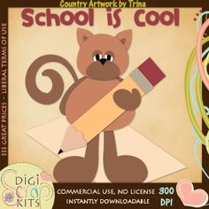 School Kitties 1 - Trina Clark Cutting File / Paper Piecing : Digi Web Studio, Clip Art, Printable Crafts & Digital Scrapbooking!