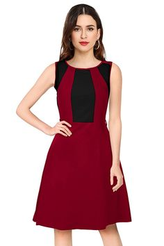 Fit Type: Regular     Fabric: 95% Polyester, 5% Spandex     Style: A-Line Skater     Fit Type: Regular     Pattern: Solid/Plain     Sleeveless Women's Knee Length Dresses, Ladies Of London, Branding Design, Spandex, Fit, Casual, Stuff To Buy, Fashion, Moda