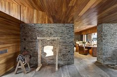 Casa MM by Elias Rizo Arquitectos is a Sophisticated Design of Wood, Stone and Steel Architecture Details, Interior Architecture, West Home, Ikea Design, Small Kitchen Organization, Brick Wallpaper, Wood Stone, Forest House, Living Styles