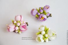 миниатюра Polymer Clay Flowers, Ceramic Flowers, Polymer Clay Earrings, Felt Flowers, Fabric Flowers, Paper Flowers, Polymer Clay Projects, Clay Crafts, Ribbon Art