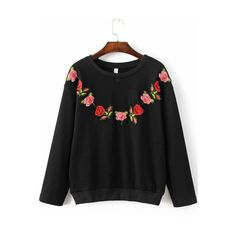 SheIn(sheinside) Black Floral Embroidery Ribbed Trim  Sweatshirt ($28) ❤ liked on Polyvore featuring tops, hoodies, sweatshirts, black, long sleeve pullover, vintage pullover, long sleeve sweatshirt, vintage tops and embroidered sweatshirts