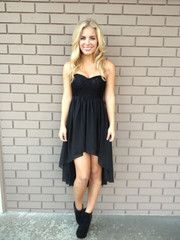 Black Chiffon Hi Low Lace Bodice Strapless Dress