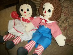 Raggedy Ann and Andy Dolls Vintage Hand Crafted Soft Sculpture Traditional Boy…