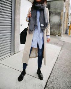 | long, lightweight jacket | oversized, button-up blouse | skinny jeans/pants | chunky, menswear shoes |
