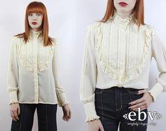Vintage 70s Cream Tuxedo Blouse S M L Tuxedo Ruffle by shopEBV