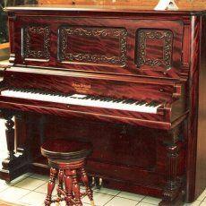 Adam Schaaf Cottage Upright Piano (1903) -- Stunning Adam Schaaf Cottage Size Victorian Upright Piano In Ribbon Mahogany Wood