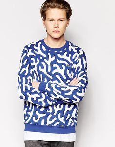 Image 1 of Lacoste Live Sweatshirt with All Over Print