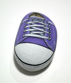 Handmade Purple All Star Converse Shoe Is hand painted on