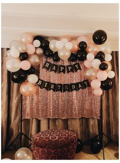 18 Birthday Party Decorations, Birthday Ideas For Her, Gold Birthday Party, 27th Birthday, Balloon Decorations Party, 18th Birthday Party Outfit, Black And Gold Party Decorations, Birthday Outfits, Birthday Cake