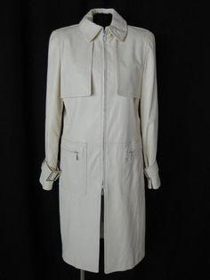 OSCAR DE LA RENTA+ Cream LONG SLEEVE STUNNING LEATHER TRENCH COAT JACKET ~ 8 | eBay $1,260.00