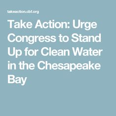 Take Action: Urge Congress to Stand Up for Clean Water in the Chesapeake Bay