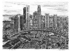 Aerial View of Singapore drawn from Stephen Wiltshire's memory | lucidpractice.com