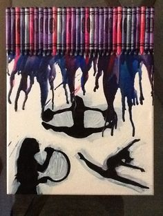 My first attempt at canvas crayon melting art! Made this one for my sister who loves to sing, cheer and dance.