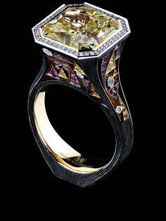 Art Stones Ring18K White Gold 1 diamond 7.48 ct 94 diamonds 0.41 ct 25 sapphires 0.21 ct 47 rubies 0.32 ct