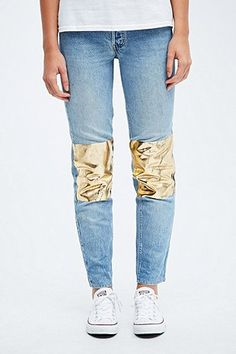 Urban Renewal Vintage Customised Levi Foil Knee Jeans - Urban Outfitters
