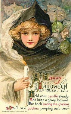 Vintage Happy Hallowe'en card 'goblins peeping out' by Samuel Schmucker