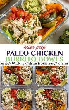 Meal Prep Paleo Chicken Burrito Bowls - Eat the Gains