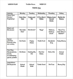 toddler weekly lesson plan lesson plan template pinterest