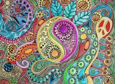 La couleur de tambours, Singleton Art, Art Hippie, yang yen, yang yin, signe de paix, art fractal, zentangle style, hippie décor, art dynamique,
