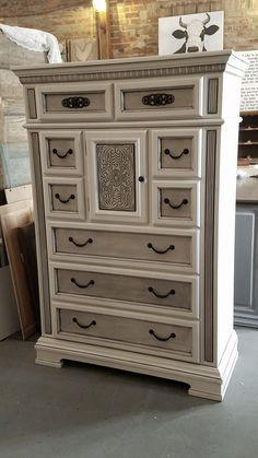 This is an awesome repurpose of this tall chest of drawers. Painted with Dixie Belle Paint Company's Fluff White and accented with Best Dang Wax in Grunge Gray Furniture Update, Refurbished Furniture, Repurposed Furniture, Furniture Projects, Furniture Making, Furniture Makeover, Diy Furniture, Rustic Furniture, Chest Of Drawers Makeover