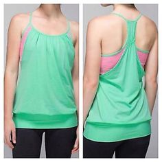 Lululemon No Limits Tank Lululemon No Limits Tank in beautiful Opal with Wee Are From Space Neon Pink in size 4.  Great color combo.  This tank is in excellent condition, only worn & washed a few times on delicate w other Lulu and hung to try.  Mesh fabric is sweat wicking and tank has built in bra. lululemon athletica Tops Tank Tops