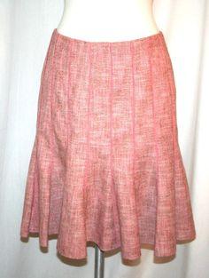 Ann Taylor Pink Cotton Wool Tweed Gored Trumpet Skirt