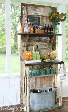 Old door repurposed into a neat piece of furniture
