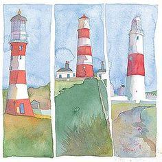 Emma Ball Coastal Scenes Greetings Card Stripey Lighthouses