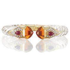 Gold, Fluted Rock Crystal, Citrine, Diamond and Cabochon Ruby Bangle Bracelet, Maz