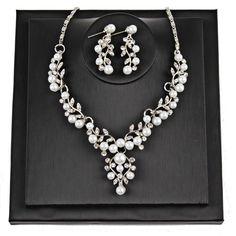 Pearl Rhinestone Necklace + Earrings