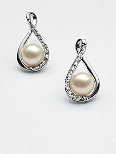 pearl & diamond earrings...this will go PERFECT WITH THAT NECKLACE !!