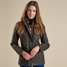 """Barbour Ladies """"Quilted Utility"""" Waxed Jacket"""