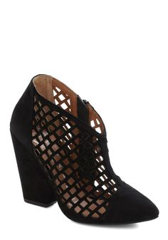 Secret Screening Bootie by Jeffrey Campbell - Black, Solid, Cutout, High, Chunky heel, Party, Luxe, Urban
