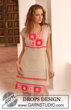 "DROPS dress in ""Muskat"" with crochet squares. Very boho, thanks so for share xox"