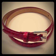 Nwot Red Genuine Leather Lined Croc Embossed Belt