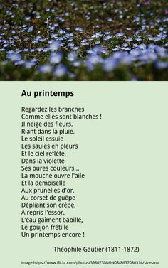 Théophile Gautier - Au printemps French Language Basics, French Language Lessons, French Poems, French Quotes, Quotes Francais, Spring Poem, Beautiful Poetry, French Resources, Learn French