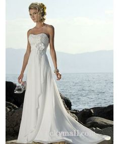 2016 Absorbing Best Sell Engrossing Enmpire Flower Applique Beading Chiffon Satin Beach Wedding Attire In Canada Wedding Dress Prices In Canada Bridal Gowns Prices Vintage Style Wedding Dresses, Elegant Wedding Dress, Cheap Wedding Dress, Bridal Dresses, Dress Vintage, Party Dresses, Dresses 2013, Casual Wedding, Weeding Dress
